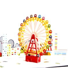 Heart Moon Upgrated 3D Pop up Greeting Card for Kids Happy Birthday Color Printing Ferris wheel Laser Cut Postcards Envelope