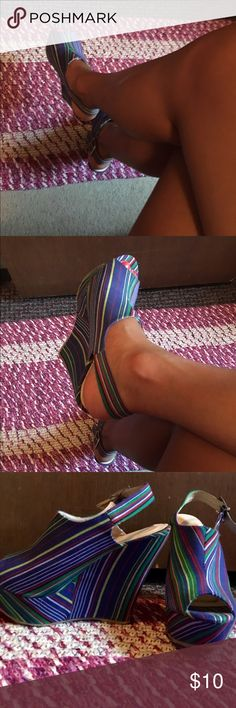 Striped wedges In good condition, worn. These are not brand new. Vintage. Fabulous Shoes Wedges