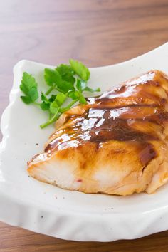 Chicken breast cooked sous vide with a brûléed teriyaki sauce.