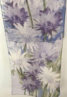 A. Brod Fashion Scarf Semi Sheer Flowers Purple Lilac Green Blue Oblong 58 Inch #ABrod #Scarf #Career