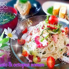 たっこたこ~ - 13件のもぐもぐ - ★蛸とトマトの冷製そうめん★ by BLUEZ33