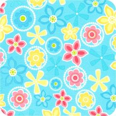 Blue, Pink and Yellow Flowers  http://foreverblanketsandbears.com