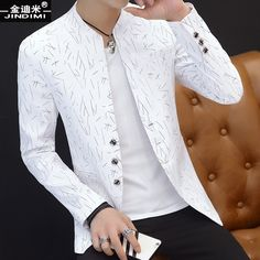 2018 mens casual - 2018 Men's casual collar collar blazer youth handsome trend Slim print blazer Blazer Outfits Men, Mens Fashion Blazer, Outfits Casual, Casual Blazer, Mode Outfits, Suit Fashion, Men Blazer, Fashion 2018, Sneakers Fashion