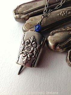 Antique butter knife bell pendant necklace blue crystal upcycled repurposed silverwear jewelry