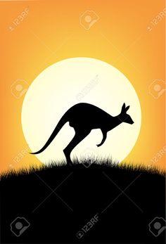 Kangaroo Silhouette Stock Photos And Images Aboriginal Dot Painting, Dot Art Painting, Face Painting Designs, Painting Patterns, Rock Painting, Silhouette Painting, Silhouette Images, Animal Silhouette, Australia Crafts