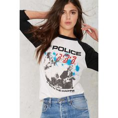 Vintage The Police Ghost in the Machine '82 Tour Tee (€225) ❤ liked on Polyvore featuring tops, t-shirts, white, graphic design tees, ribbed tee, american vintage t shirts, vintage 80s t shirt and american tees