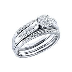 14K White Gold 1/4 ct. Diamond Bridal Engagement Set * You can get more details here : Engagement Rings Jewelry