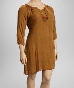 This Camel Embroidered Tunic - Plus by SR Fashions is perfect! #zulilyfinds  With cowgirl boots!  Gypsy -boho!