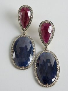 blue and red sapphire diamond drop earrings