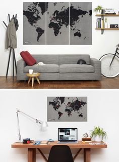 10 World Map Designs To Decorate A Plain Wall - This world map is printed on thick felt to allow you to stick pins straight down into it without worrying about your wall behind the map. World Map Mural, World Map Wall Decal, Wood World Map, Kids World Map, World Map Wallpaper, World Map Poster, Wall Maps, Wall Wallpaper, Interior Balcony