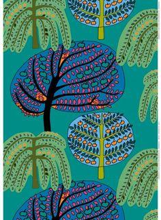 Sadonkorjuu fabric (green, turquoise, orange) |Fabrics, Cottons | Marimekko