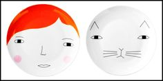 Donna Wilson Meg & Mog Porcelain Plates.. Tässä lisää näitä hauskoja lautasia :) Ecommerce Hosting, Porcelain, Plates, Licence Plates, Porcelain Ceramics, Dishes, Griddles, Dish, Tableware