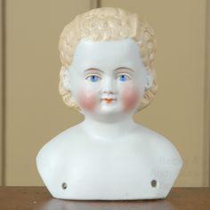 "3.5"" Fine Quality Blonde Parian Head with Pierced Ears"