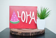 "Aloha Watermelon Summer 8x10"" Hand Painted Canvas"