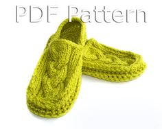 Crochet Slippers Pattern, Knitted Slippers Pattern, Adult Slippers Pattern, Cabled Moccasins PDF Pattern - Instant Download