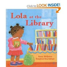 Lola at the library - how cute!