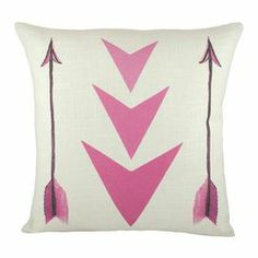 "Pillow with a printed arrow motif. Handmade in the USA.     Product: PillowConstruction Material: Linen blend cover and fiber fillColor: Pink and whiteFeatures:  Pattern printed on front onlyEnvelope enclosureInsert includedHandmade by TheWatsonShop Dimensions: 16"" x 16""Cleaning and Care: Hand wash with mild detergent. Lay flat to dry. Cool iron."