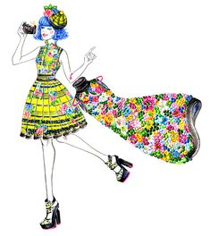 Colorful Erdem Girl, inspired by Erdem Pre-Fall Illustration by Sunny Gu. Beauty Illustration, Illustration Sketches, Illustration Artists, Red Ridding Hood, Decoupage, Beautiful Sketches, Fashion Sketches, Fashion Illustrations, Fashion Drawings
