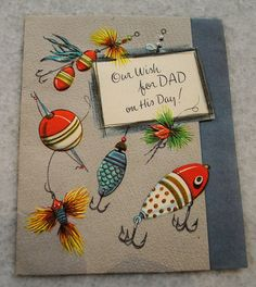 Father's Day Card  Vintage fishing lures...need something to go with the fishing license ;)