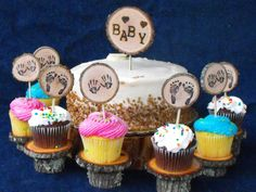 Baby Shower Cake Topper Decorations Baby/Feet/Hands Cup Cake Toppers Rustic Decorations - Woodland Baby shower - pinned by pin4etsy.com