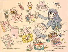 whats in my bag artist Drawing Bag, Drawing Sketches, Artist Bag, Bag Illustration, Art Prompts, What In My Bag, Simple Doodles, Meet The Artist, Cute Characters