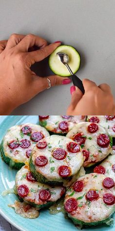 This low carb pizza bites recipe is super easy to make and ready in less than 30 minutes. Made with zucchini slices for a healthier option. Perfect as an appetizer, snack or a meal. Take your zucchini to a whole other level. ZUCCHINI PIZZA BITES Ve Low Carb Recipes, Vegetarian Recipes, Cooking Recipes, Healthy Recipes, Free Recipes, Easy Recipes, Vegetarian Barbecue, Barbecue Recipes, Vegetarian Cooking