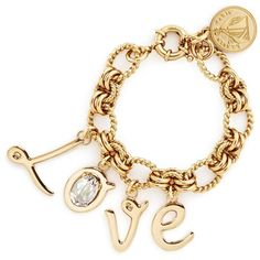Lanvin 'Love' glass crystal charms bracelet ($525) ❤ liked on Polyvore featuring jewelry, bracelets, metallic, initial charms, initial jewelry, chain jewelry, lanvin and letter charms