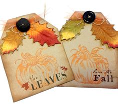 Pair of Fall Gift or Scrapbooking Tags by SuzanneBWebb on Etsy, $4.00