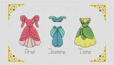 Disney cross stitch pattern Disney princess dress cross stitch pattern Ariel cross stitch Jasmine cross stitch Tiana BUY 2 GET 1 FREE Disney Cross Stitch Patterns, Cross Stitch Designs, Cute Cross Stitch, Cross Stitch Embroidery, Beading Patterns, Knitting Patterns, Robes Disney, Hama Disney, Disney Princess Dresses