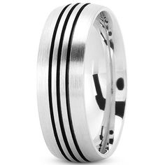 14K White Gold Wedding Band With Triple Pinstripe Center