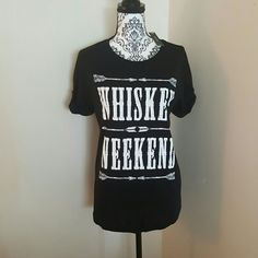Whiskey Weekend T-Shirt Brand new with tags.  Loose fitting. Cuffed sleeve. Mannequin wearing size large. 50% cotton 50%modal. April Spirit Tops Tees - Short Sleeve