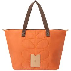 Orla Kiely Stem Quilted Nylon Large Tote Bag ($75) ❤ liked on Polyvore featuring bags, handbags, tote bags, orange, zip top tote, red purse, nylon handbags, nylon tote bag and orange purse