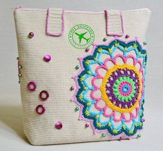 Summer Tote Bag Crochet Purse - Womens Bag Mandala Tote Cotton Bag - Ecru Beach Tote Bag - Shoulder Boho Tote Bag - Gift for Her - ItWasYarn Bag Crochet, Crochet Shell Stitch, Crochet Handbags, Crochet Purses, Crochet Gifts, Crochet Summer, Purse Patterns, Crochet Patterns, Summer Tote Bags