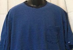 Cutter & Buck Mens Polo Shirt Casual Blue Stripes 100% Cotton Large Short Sleeve #CutterBuck #PoloRugby