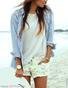 Striped button-up blouse Linen non ironed