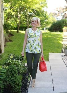 Lemon print top paired with frayed hem olive jeans | Fabulous After 40