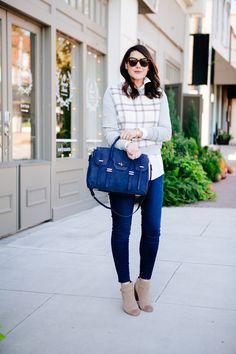 10.15 mad for plaid (Anthropologie windowpane plaid sweatshirt + Madewell oversized boyshirt in white + LOFT skinny jeans + Sole Society booties + Rebecca Minkoff 'jules' satchel + Karen Walker sunnies)