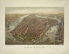 Manhattan New York with Battery Park in the by RetroPrintmaker