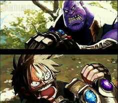 Avengers: Infinity War' Just Got A Perfect 'One Piece' Mash-Up: Marshall D Thanos vs Captain Luffy. Soul Eater, Comics Universe, Marvel Cinematic Universe, One Piece Meme, Bleach Characters, One Piece Luffy, Anime Crossover, Avengers Infinity War, Spiderman