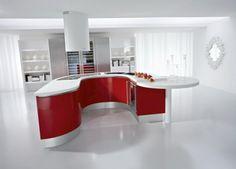 Awesome Red And White Kitchen Curved Island Design Your Own Kitchen Kitchen Island Shapes, Candy Containers, Tasmania, Kitchen Design, Tea Pots, Centre, Design Of Kitchen, Tea Pot