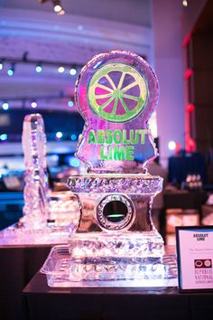 Liquor brands such as Absolut were highlighted through ice sculptures on top of the bars.