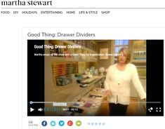 Martha wraps up the show with a Good Thing for organization: drawer dividers. Shelf Dividers, Diy Food, Martha Stewart, Drawers, Good Things, Organization, Entertaining, Life, Products