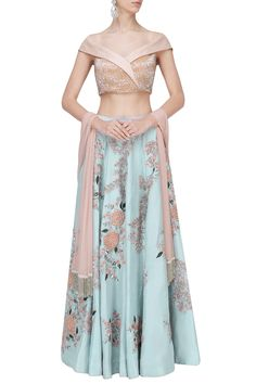 Mani Bhatia presents Teal blue and pink embroidered lehenga set available only at Pernia's Pop Up Shop. Choli Designs, Lehenga Designs, Saree Blouse Designs, Salwar Designs, Indian Dresses, Indian Outfits, Indian Clothes, Lehenga Blouse, Lehenga Skirt
