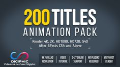 200 Titles Animation: https://videohive.net/item/200-titles-animation/19495140?ref=digiphic Project Description : 200 Unique and Elegant Titles Animations Bundle. Really easy to customize. After Effects CS4 and above. No plugins required. Just drag into your composition and render. Each title contains In/Out animation. Detailed video tutorial included. You can use titles as a Kinetic Typography project. Perfect for: titles animation, text animation, kinetic typography, text opener, modern…