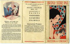 Vintage Bridge Score pad colorful woman cover ca 1930s great grafics good condition size 6x3-1/4in back cover compliments ofheath and