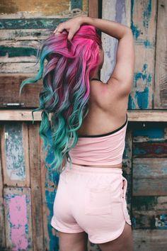 Pink and blue hair unicorn hair dyed hair, hair styles и tea Teal Hair Color, Pretty Hair Color, Hair Dye Colors, Crazy Color Hair Dye, Fun Hair Color, Bright Hair Colors, Colourful Hair, Unicorn Hair Dye, Dyed Hair Pastel