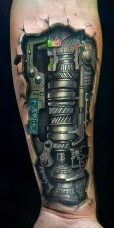 Do you love tattoos? What kind of tattoos do you like? Would you get sick of these biomechanical tattoo designs? Well, when it comes to tattoos, there is a lot it than that that meets the eye. Cyborg Tattoo, Biomech Tattoo, Biomechanical Tattoo Design, Tattoos Masculinas, Body Art Tattoos, Sleeve Tattoos, Cool Tattoos, Tattoo Sleeves, Arm Sleeves