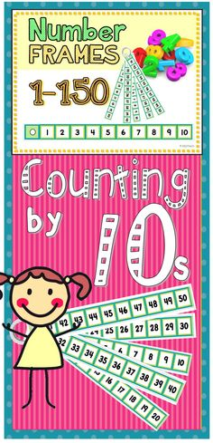 """Count by tens using this ring of number frames. Learning to count to 50? Place 5 number frames on the ring. Counting to 150? Place them all on the ring. Print, trim, laminate and hole punch for a portable """"hundreds chart"""" that can be used during morning routines, math centers and independent work periods."""