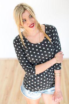 """Longsleeves - Punkte Shirt """"Munchie"""" in dunkelgrau weiß  - ein Designerstück von Shoko bei DaWanda"""