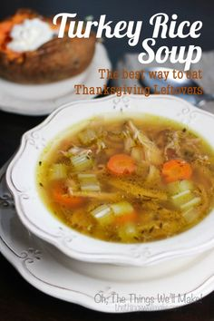 Thanksgiving Leftover Soup (Turkey Rice Soup With Everyday Chicken Alternative). Don't throw the bones and skin away, instead make this nourishing and tasty Turkey Rice Soup, the best way to eat your Thanksgiving leftovers! Leftovers Recipes, Turkey Recipes, Soup Recipes, Dinner Recipes, Chicken Recipes, Turkey Meals, Recipies, Turkey Rice Soup, Leftover Turkey Soup